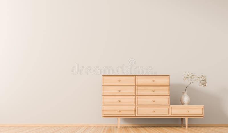 在斯堪的纳维亚样式的空的墙壁内部与木家具 E 3d?? 皇族释放例证