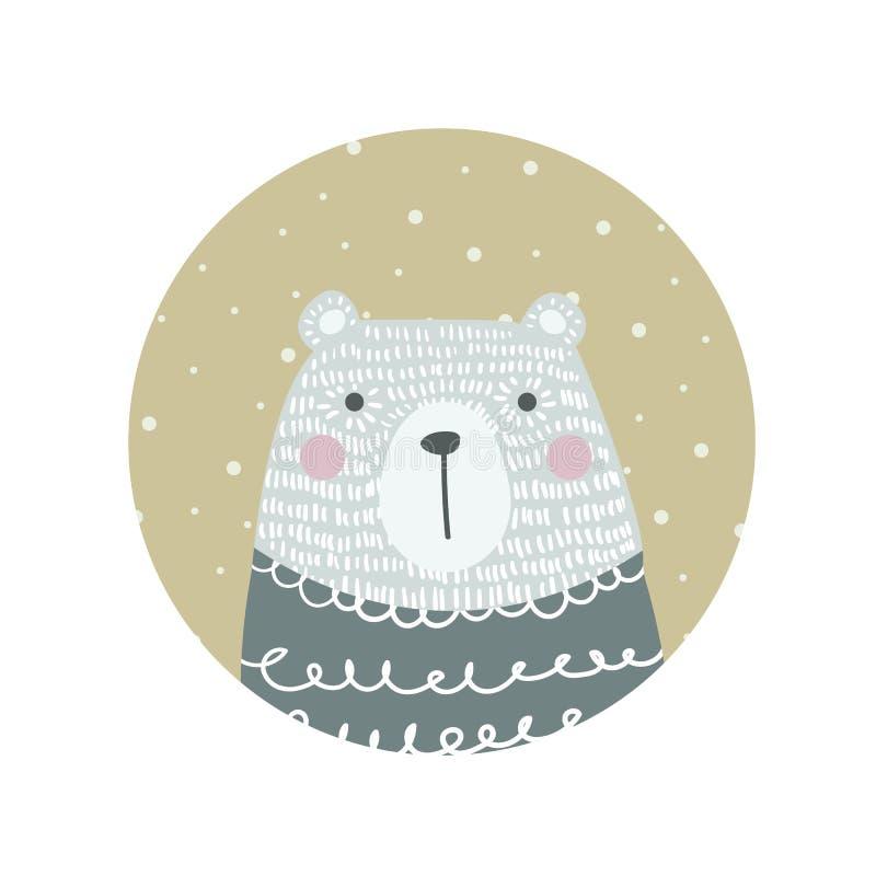 在斯堪的纳维亚,北欧样式的手拉的滑稽,逗人喜爱的北极熊 库存例证