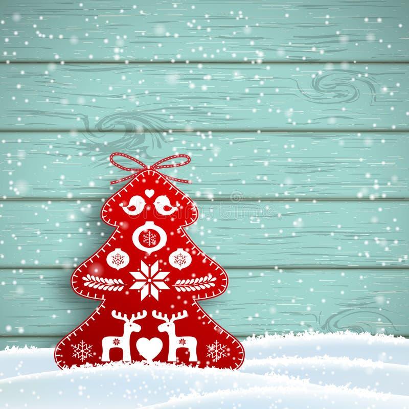 在斯堪的纳维亚样式的圣诞节装饰,在蓝色木墙壁,例证前面的红色富有的装饰的树 向量例证