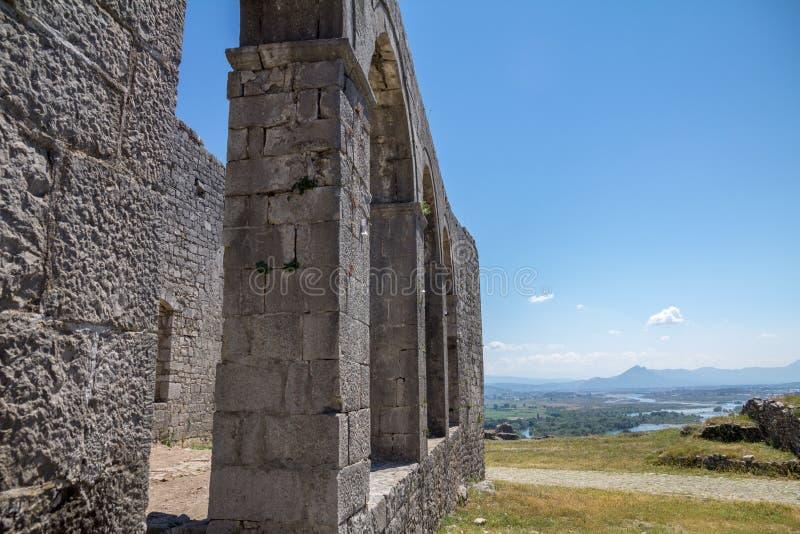 在斯库台,阿尔巴尼亚附近的Rozafa城堡 库存图片