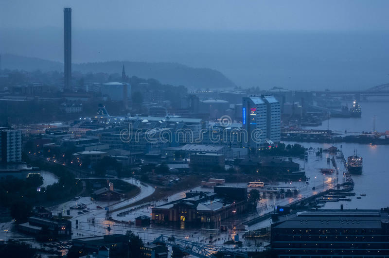 在斯德哥尔摩的风雨如磐的看法 免版税库存照片