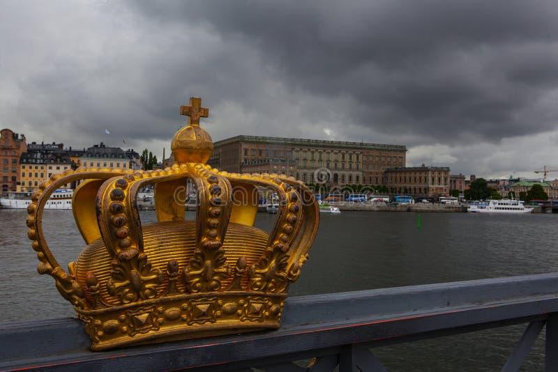 在斯德哥尔摩老镇的全景  库存照片