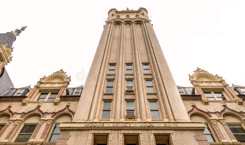 在斯波坎县法院大楼的塔在华盛顿 免版税库存照片