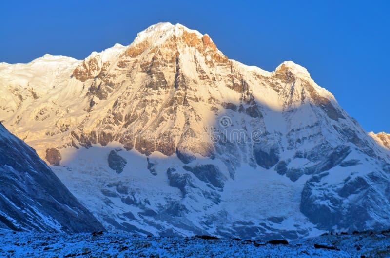 在斯诺伊山风景的日出在喜马拉雅山 安纳布尔纳峰南峰顶,安纳布尔纳峰营地轨道 免版税库存照片