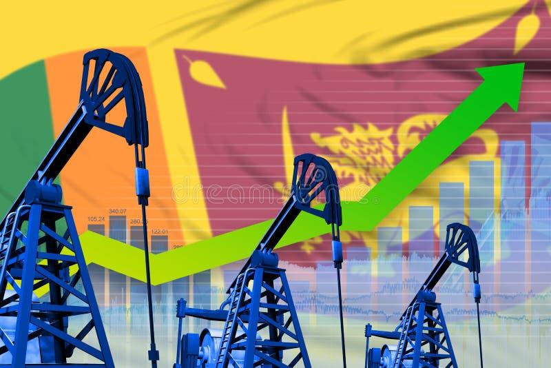 在斯里兰卡旗子背景-斯里兰卡石油工业或市场概念的工业例证的增长的图表 3d?? 皇族释放例证