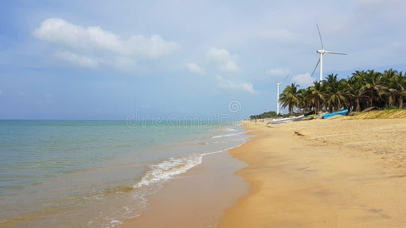 在斯里兰卡的北部的海滩 图库摄影