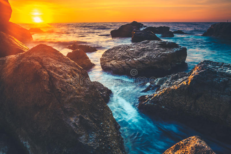 在斯里兰卡的海岸的日落 免版税库存图片