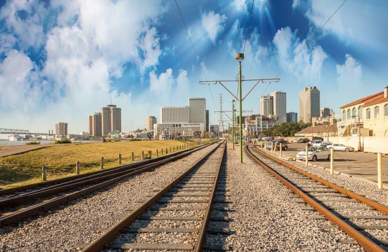 在新奥尔良, Lousiana的美好的日落 免版税库存图片