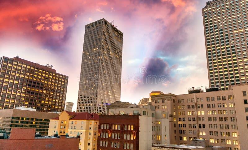 在新奥尔良, Lousiana的美好的日落 库存图片