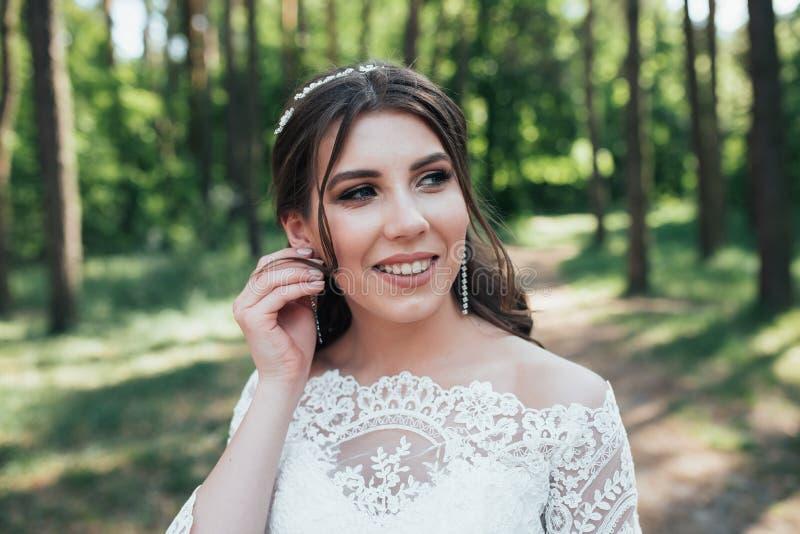 在新娘的土气样式情感的婚姻的摄影自然的在岩石 免版税库存图片