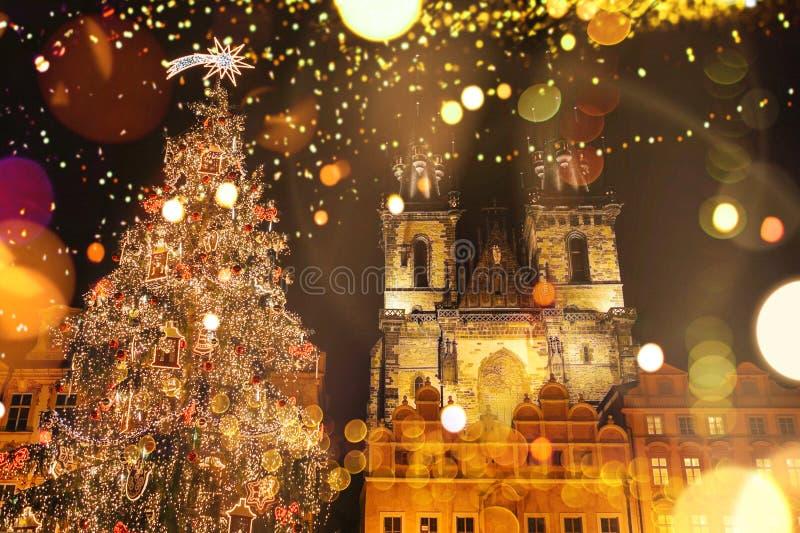 在新年假日期间,装饰的圣诞树在大广场站立在布拉格 库存图片