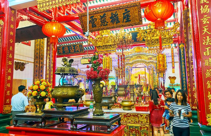 在新春佳节期间的中国寺庙,仰光,缅甸 库存照片