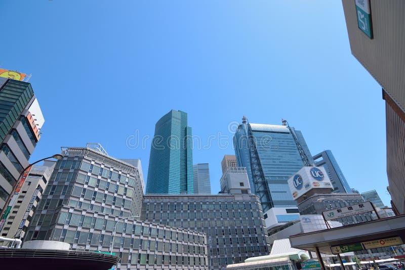 在新桥驻地的都市风景在东京 库存照片