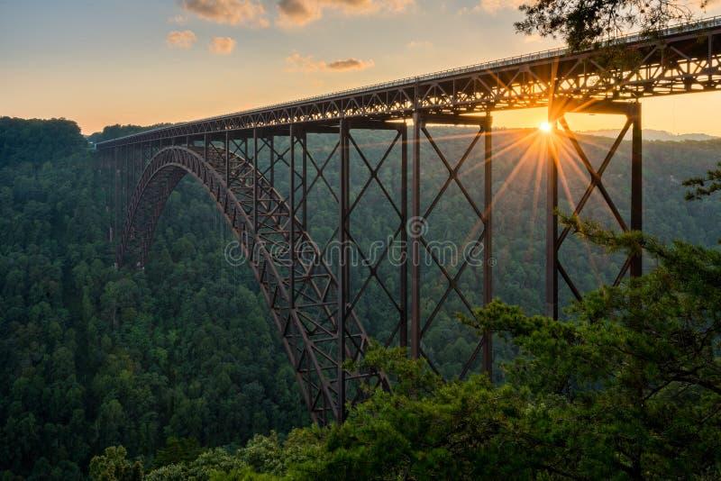 在新河峡大桥的日落在西维吉尼亚 免版税库存图片