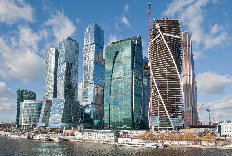 在新的莫斯科市大厦的看法 免版税库存图片
