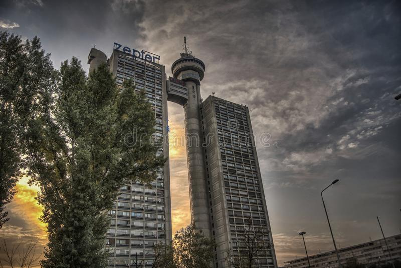 在新的贝尔格莱德的Genex大厦 免版税库存图片