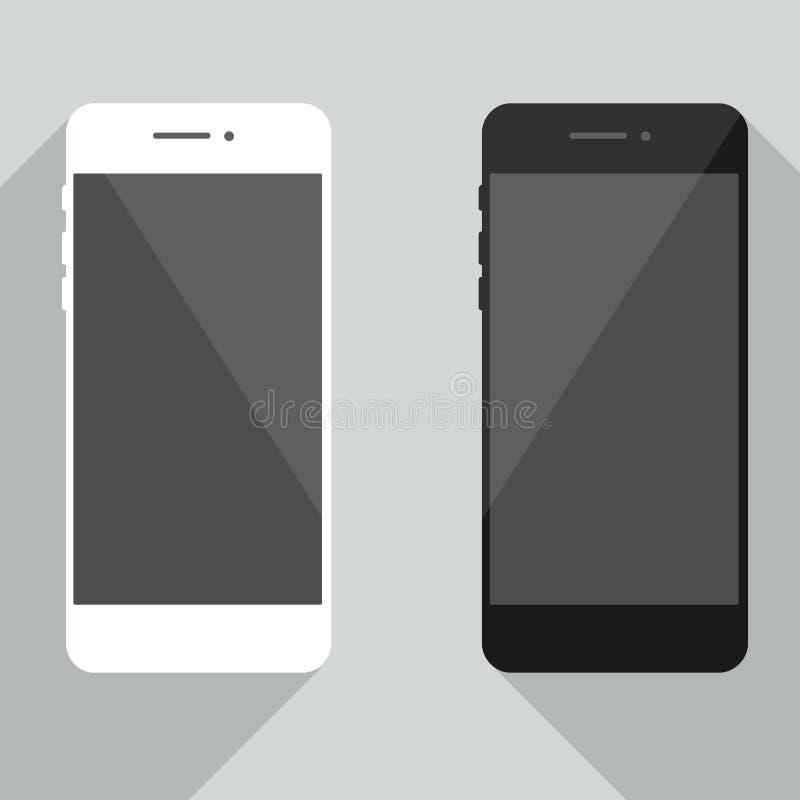 在新的iphone样式的现实手机收藏 有阴影isola的白色和黑智能手机 库存例证