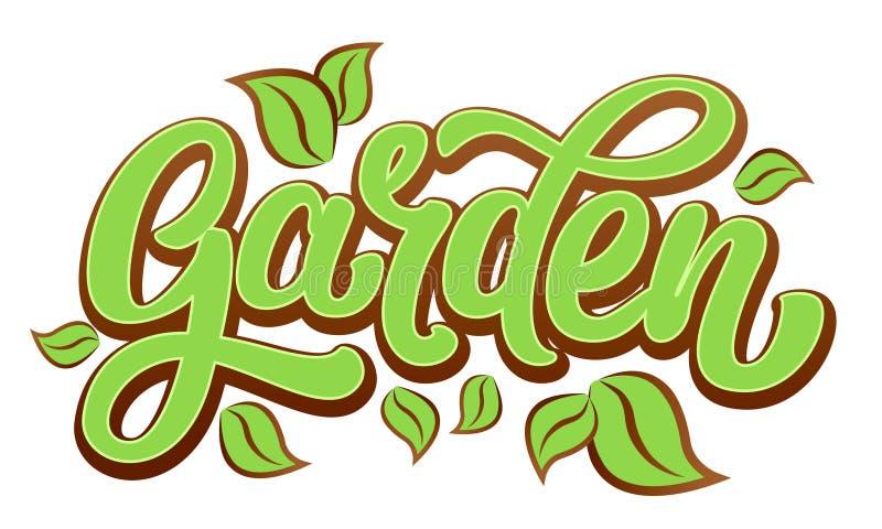 在新绿色的庭院词上写字 皇族释放例证