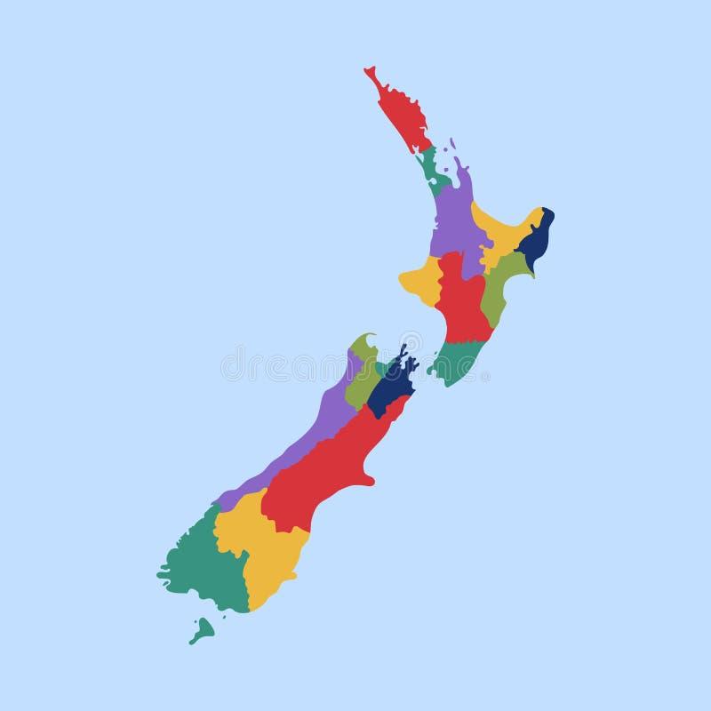 在新西兰的政治地图以被分离的状态 库存例证