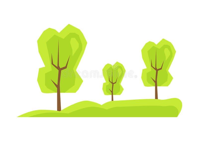 在新鲜的草,整洁的公园草甸的高绿色树 皇族释放例证