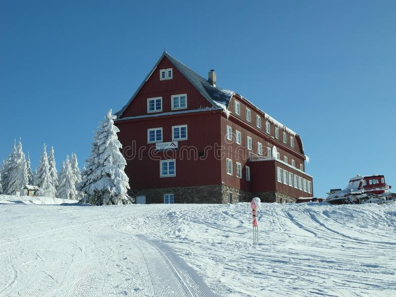 在新鲜的雪的晴天 免版税库存图片