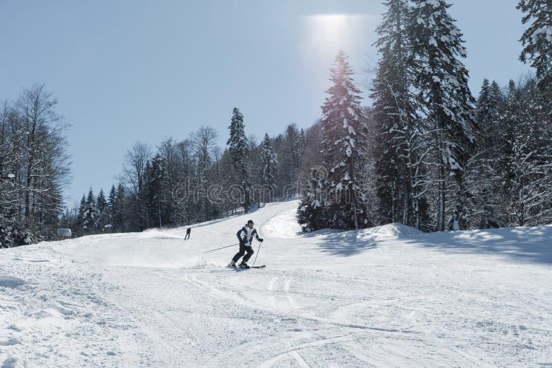 在新鲜的雪的滑雪者滑雪在山的滑雪在晴朗的wi 免版税图库摄影