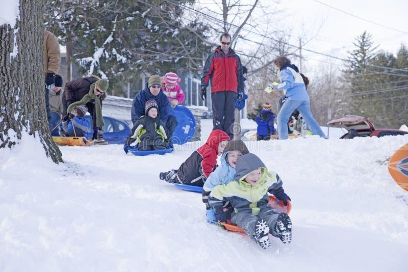 在新鲜的雪的雪橇乘驾 库存图片