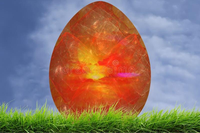 在新鲜的绿草的红色复活节装饰分数维鸡蛋 皇族释放例证