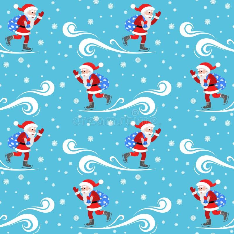 在新年的题材的无缝的传染媒介样式 与袋子礼物的圣诞老人冰鞋 库存例证