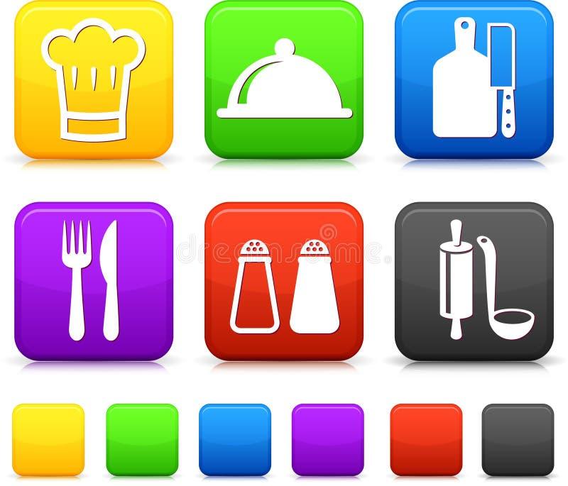 在方形互联网按钮的食物Icond 库存例证