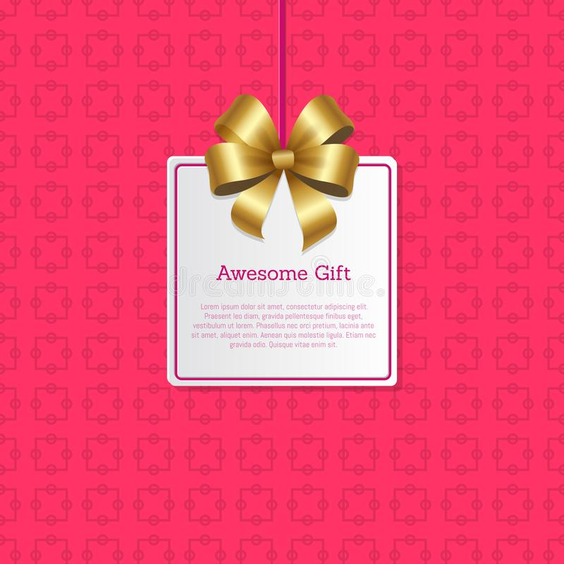 在方形的卡片的令人敬畏的礼物标志与金弓 库存例证