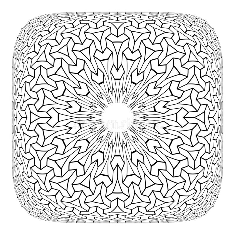 在方形的形状的凸面几何圈子欧普艺术样式 库存例证