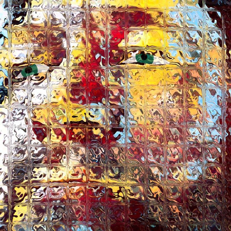 在方形的彩色玻璃的人的面孔 库存例证