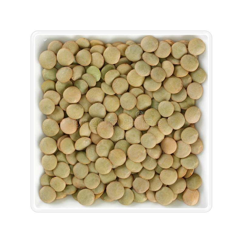在方形的碗的绿色扁豆在白色背景 库存照片