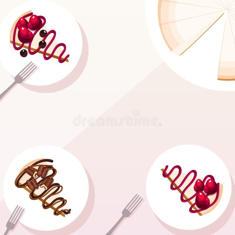 在方形的粉红彩笔背景的乳酪蛋糕切片 向量例证