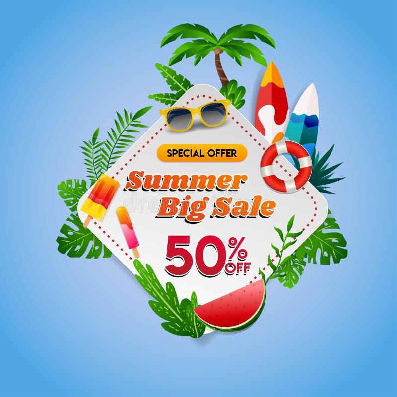 在方形的金刚石标志的夏天大销售与在蓝色背景夏天大销售的热带题材在与热带的方形的金刚石标志 皇族释放例证