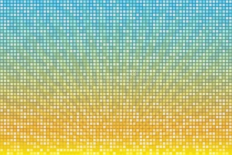 在方形的马赛克栅格的抽象黄色蓝色辐形背景 明亮的夏天传染媒介例证 皇族释放例证