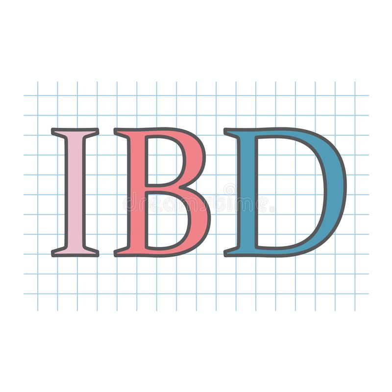 在方格的纸板料写的IBD激动的肠炎 皇族释放例证