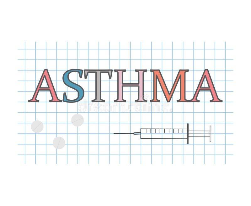 在方格的纸板料的哮喘词 库存例证
