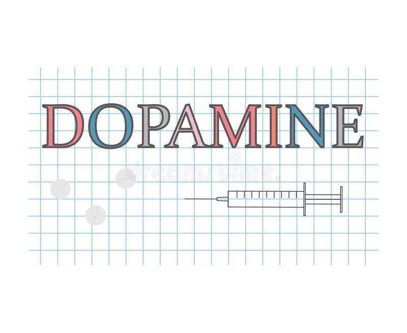 在方格的纸板料的多巴胺词 皇族释放例证
