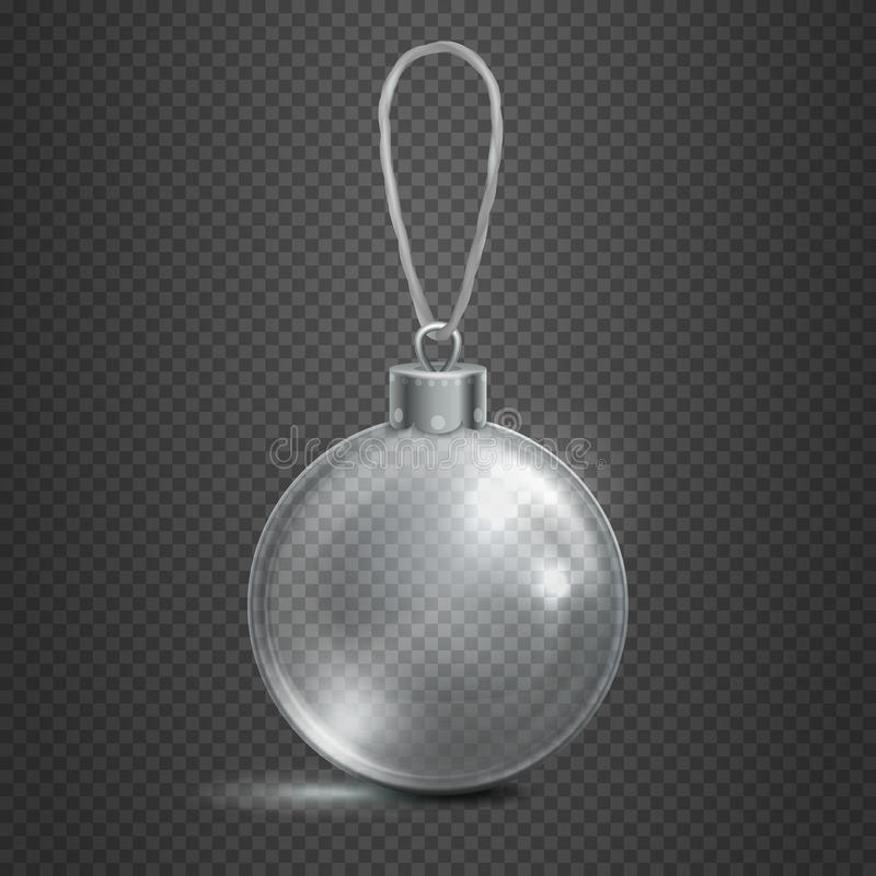 在方格的背景传染媒介例证的清楚的透明玻璃圣诞节玩具球 向量例证