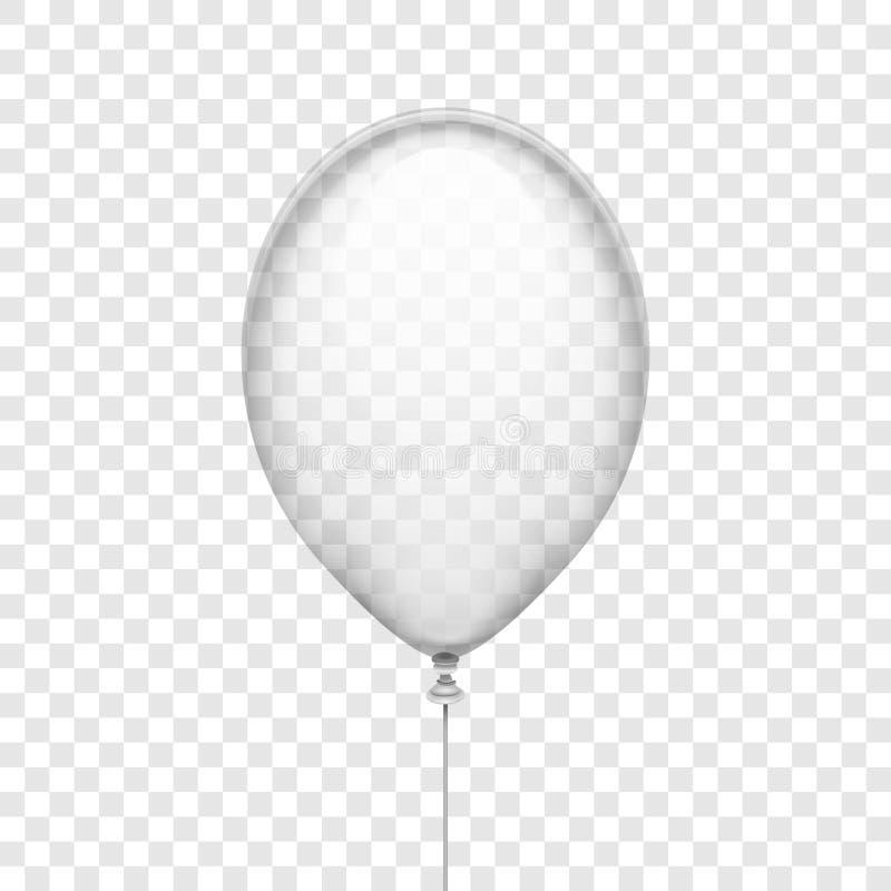在方格的背景传染媒介例证隔绝的透明白色橡胶气球 库存例证