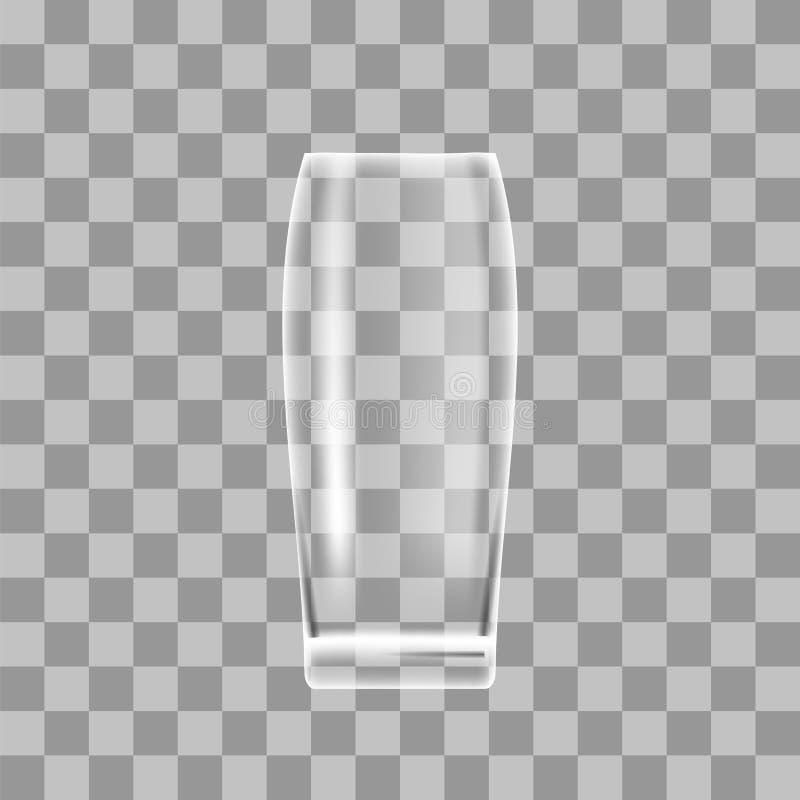 在方格的背景的透明啤酒杯 库存例证