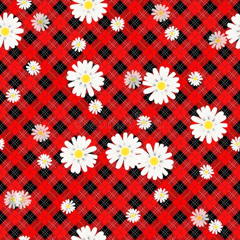 在方格的背景的黑和红色格子花和雏菊花纹花样纺织品的eps 10 免版税图库摄影