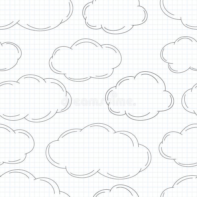 在方格纸的手拉的云彩