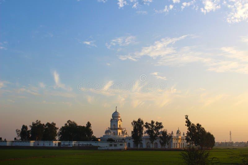 在旁遮普邦印度的一个锡克教徒的寺庙 库存图片