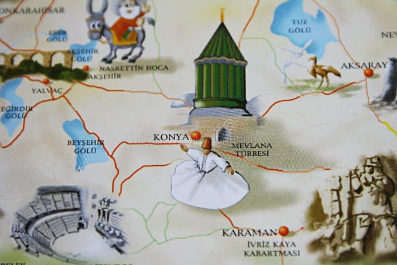 在旅游手册的Konya 图库摄影