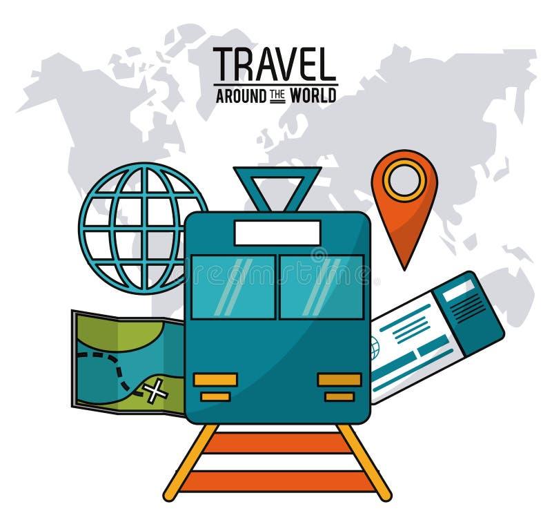 在旅行世界范围内 铁路火车国际票地图 向量例证