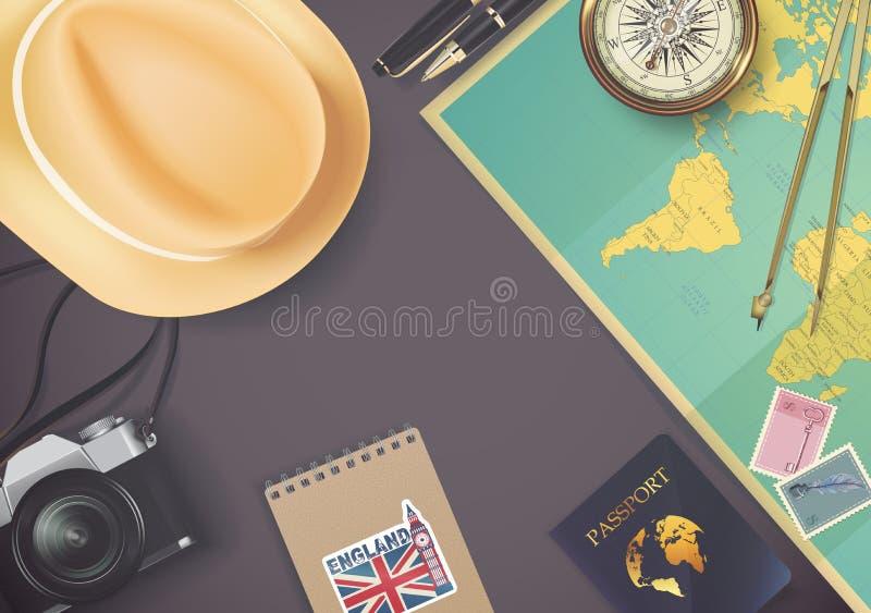 在旅行和旅游业概念模板的顶视图 皇族释放例证