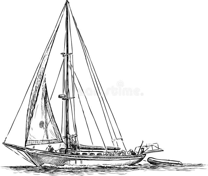 在旅行的帆船 向量例证